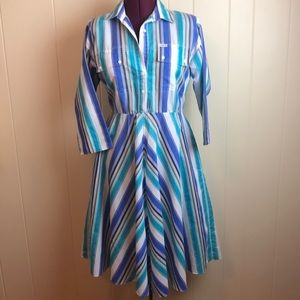 Vintage 70s/80s Blue White Striped Day Dress